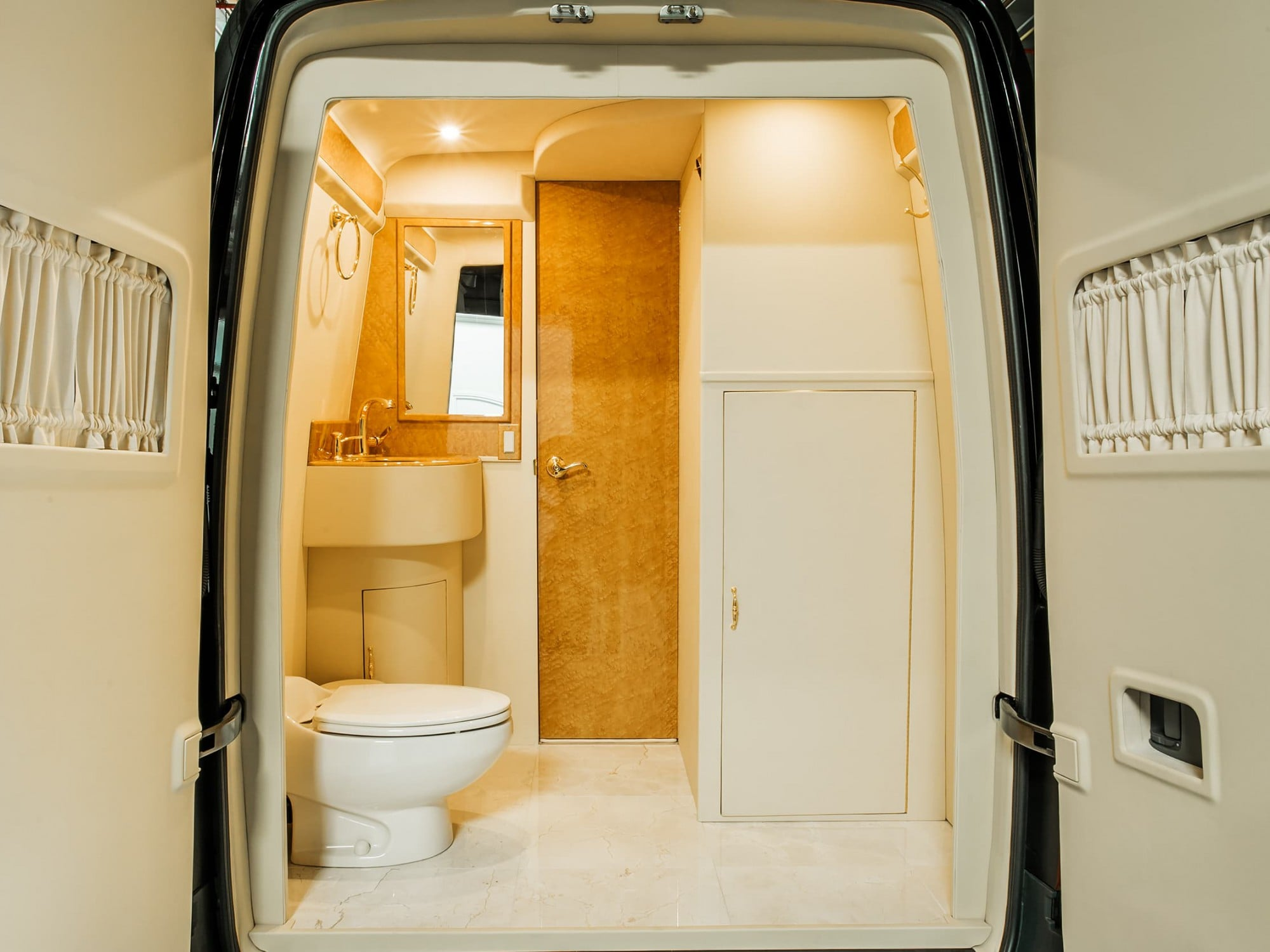 Lexani Motorcars executive restroom vehicle conversion