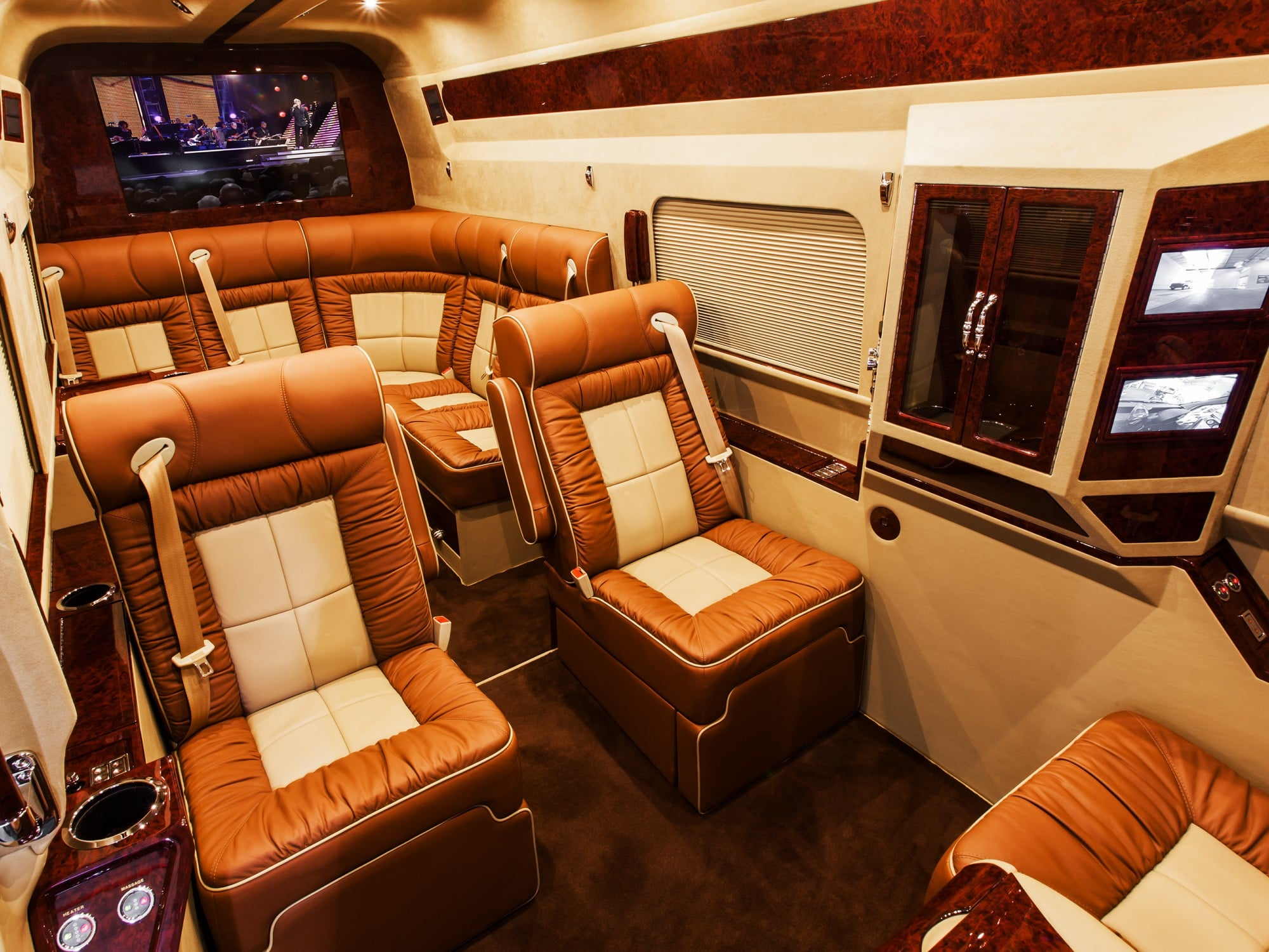 Lexani Motorcars brown and white leather and wood finish custom luxury interior
