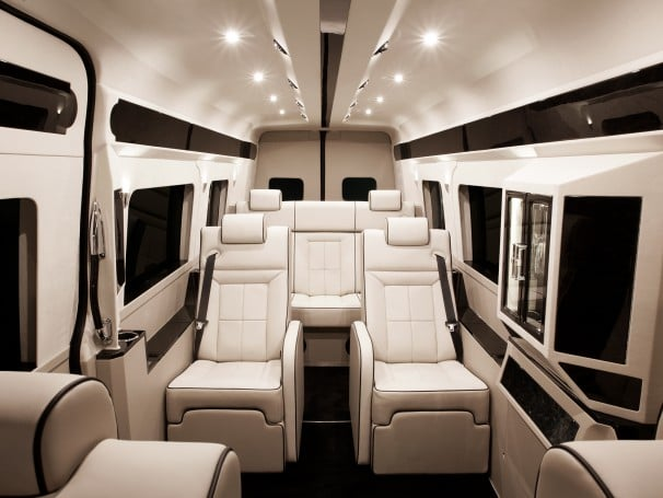 Other Interior Highlights Included In This Mercedes Luxury Van Are Art Deco Style Armrests Beverage Bar Showcase Roomy Refrigerator And Ambient VIP Cabin