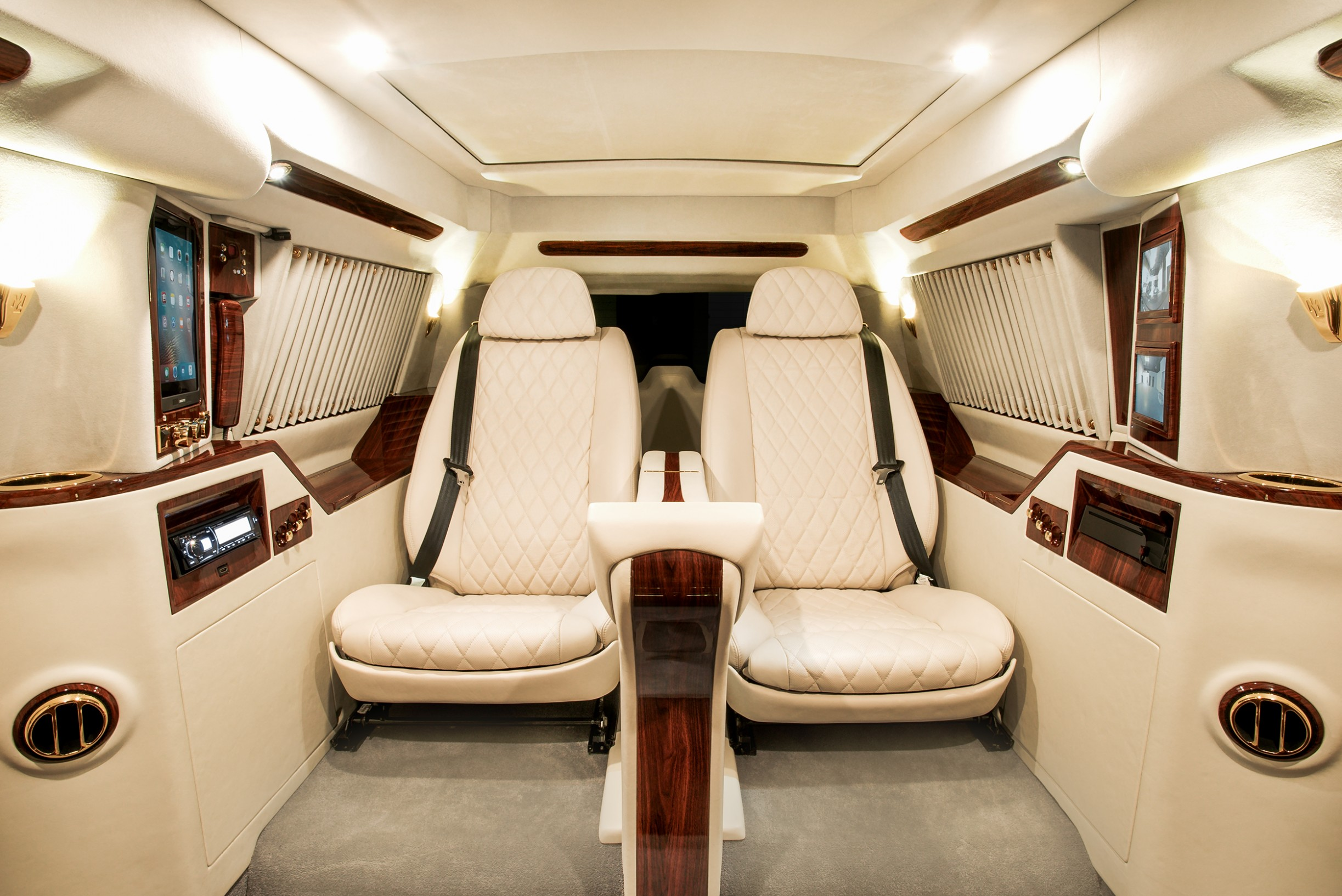 ... The Custom Luxury Touches Found In This Exclusive Vehicle. Complete The  Surround Sound, 48 Inch Samsung LED Curved TV, And Cold Beverage Storage.